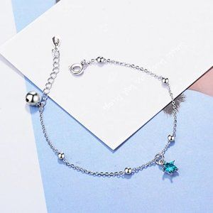 NEW 925 Sterling Silver Crystal Star Bracelet